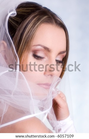 beautiful bride close-up portrait - stock photo