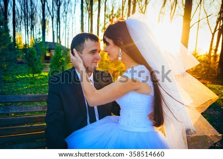 Beautiful bride embracing sitting on a park bench - stock photo