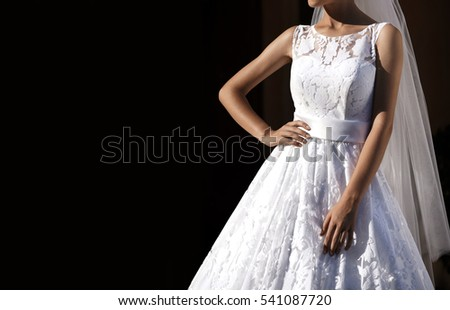 Beautiful bride. Fashion. Wedding dress.