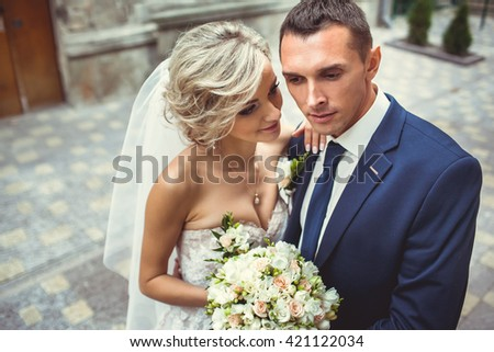 Beautiful bride hugging - stock photo