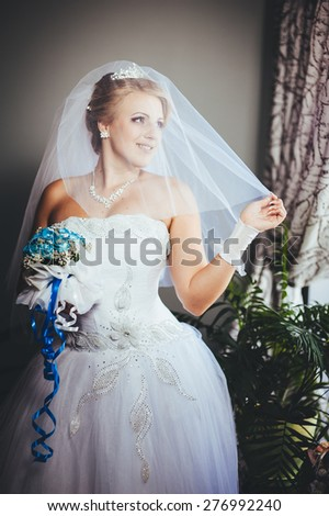 Beautiful bride in a luxurious restaurant. Vintage style