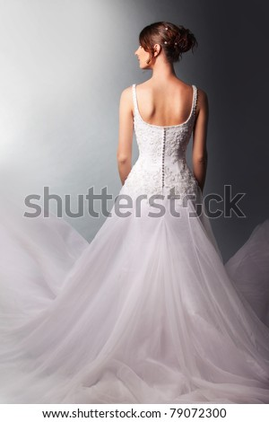 beautiful  bride in a luxurious wedding dress - stock photo