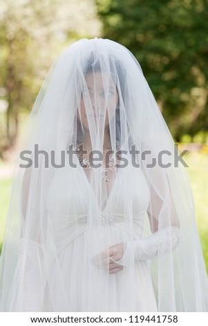 beautiful bride in a snow-white veil - stock photo
