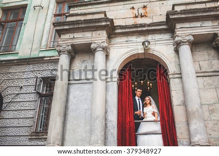 Beautiful bride in an old house