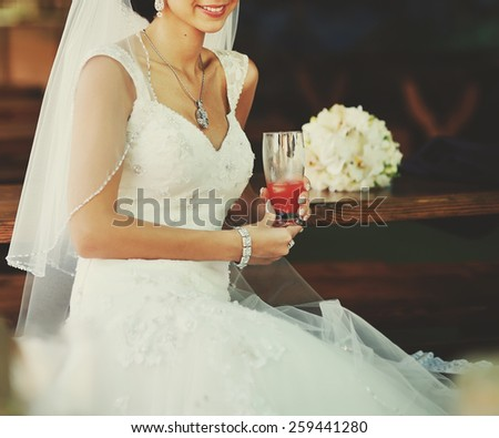 Beautiful bride in cafe.