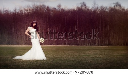 Beautiful bride in front of a forest. Vintage style. - stock photo