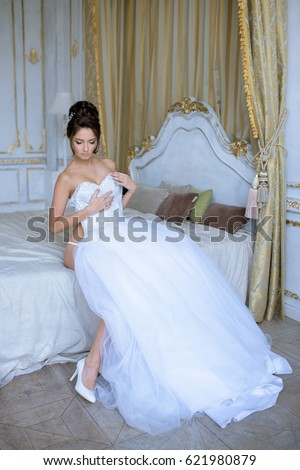 Beautiful Bride Lingerie Wearing Wedding Dress Stock Photo (Edit Now ...