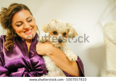 Beautiful Bride Purple Dressing Gown Dog Stock Photo (Royalty Free ...