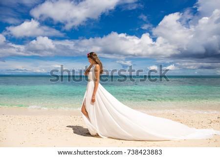 Beautiful Bride White Wedding Dress Big Stock Photo & Image (Royalty ...