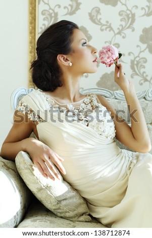 Beautiful bride luxury interior, vintage glamour style - stock photo