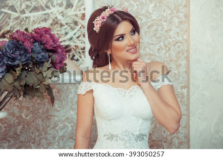 beautiful bride on a white background