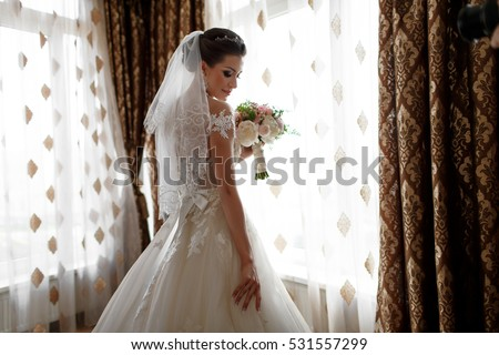 stock photo beautiful bride portrait wedding makeup and hairstyle girl in diamonds tiara and marriage flowers 531557299