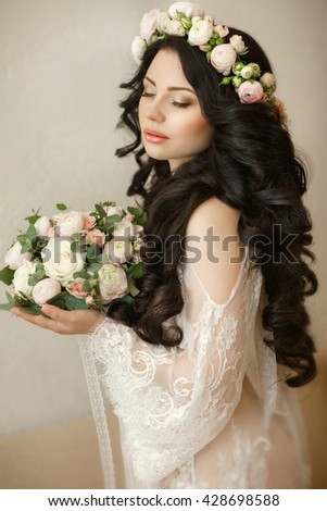 Beautiful Bride Portrait wedding makeup and hairstyle, girl in flower wreath with bridal bouquet, decoration rustic style. soft selective focus - stock photo