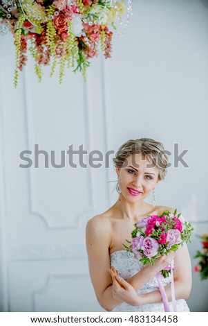 Beautiful Bride portrait wedding makeup and hairstyle with diamond crown