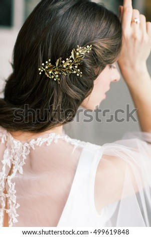 Beautiful Bride Portrait wedding makeup hairstyle, gorgeous young woman in white dress at home