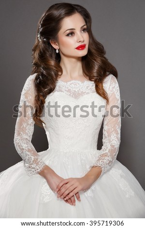 Beautiful Bride Portrait Wedding Makeup Woman Stock Photo - Hairstyle with wedding gown