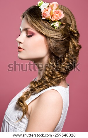 Beautiful bride. Wedding braid hairstyle. Romantic girl - stock photo