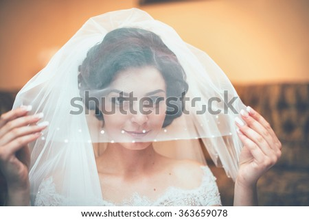 stock photo beautiful bride with a veil on her head and looks in the frame smiles happiness love 363659078 Where to find a Good Female With Superb Assets