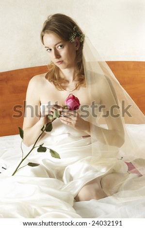 beautiful bride with  flower - stock photo