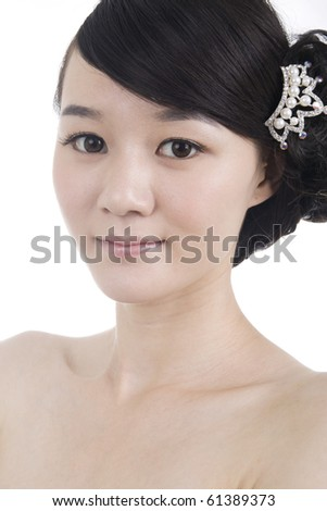 Beautiful bride with perfect natural makeup - stock photo