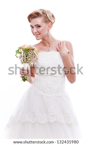 Beautiful bride with wedding bouquet isolated on white