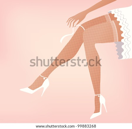 Beautiful brides legs in white fish net stockings. Vector version also available in my portfolio.