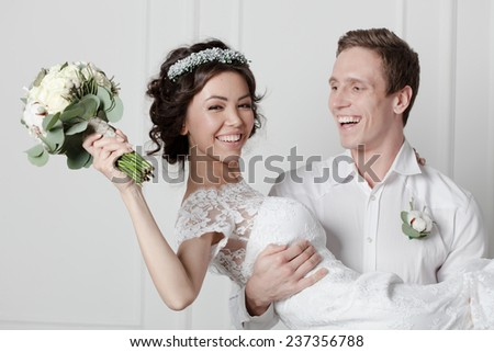 beautiful brides wedding  - stock photo