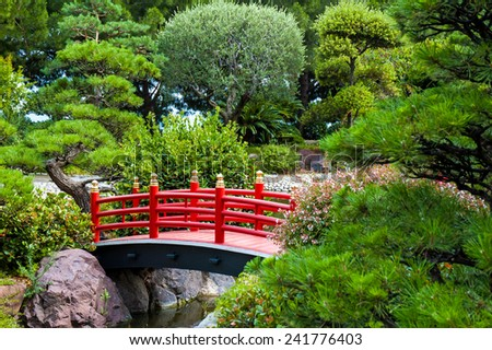 Beautiful bridge in japanese garden.