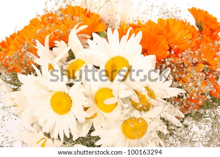 Beautiful bright bouquet of white and orange flowers