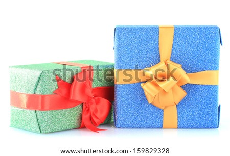 Beautiful bright gifts, isolated on white - stock photo