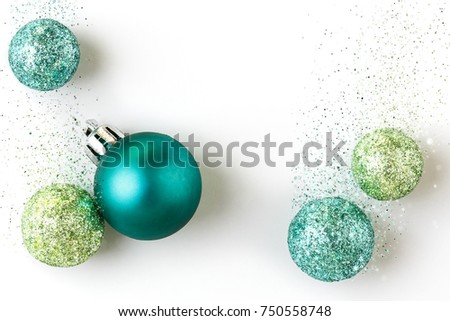 Beautiful, bright, modern Christmas holiday ornaments decorations in  contemporary trendy blue and green colors