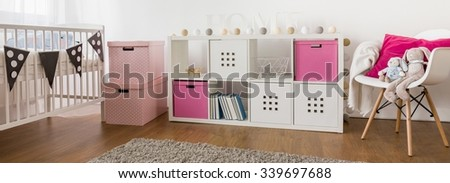 Beautiful bright room for little baby girl