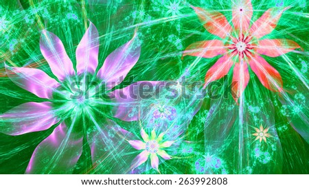 Beautiful bright shining modern high resolution flower background with a detailed flower pattern with plastic natural looking 3D leaves, all in high resolution and in pink,green,blue,red - stock photo