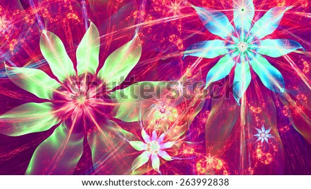 Beautiful bright shining modern high resolution flower background with a detailed flower pattern with plastic natural looking 3D leaves, all in high resolution and in green,pink,yellow,blue,cyan - stock photo