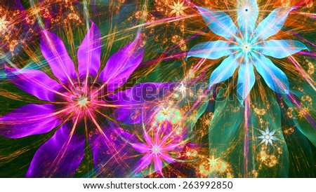 Beautiful bright shining modern high resolution flower background with a detailed flower pattern with plastic natural looking 3D leaves, all in high resolution and in pink,green,yellow,red,blue - stock photo