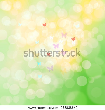 Beautiful bright spring and Easter color bokeh abstract illustration with blurry coloful butterflies. - stock photo