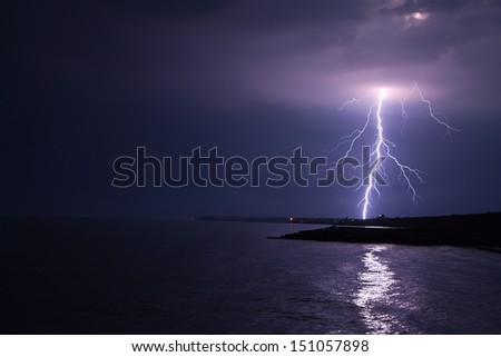 beautiful bright storm at sea