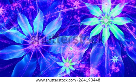 Beautiful bright vivid modern high resolution flower background with a detailed flower pattern with plastic natural looking 3D leaves, all in high resolution and in blue,pink,cyan - stock photo