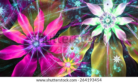 Beautiful bright vivid modern high resolution flower background with a detailed flower pattern with plastic natural looking 3D leaves, all in high resolution and in green,pink,purple,yellow - stock photo
