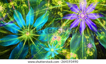 Beautiful bright vivid modern high resolution flower background with a detailed flower pattern with plastic natural looking 3D leaves, all in high resolution and in blue,purple,yellow,green - stock photo