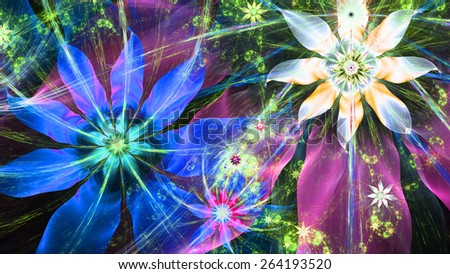 Beautiful bright vivid modern high resolution flower background with a detailed flower pattern with plastic natural looking 3D leaves, all in high resolution and in blue,pink,yellow,green,white - stock photo