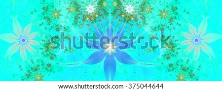 Beautiful bright vivid modern high resolution flower background with a large central natural looking flower and two smaller ones on the sides with decorative flower pattern, all in cyan,blue,green - stock photo