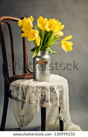 Beautiful bright yellow tulips in Still Life with old Milk Can on antique wooden Chair with Lace Cloth - stock photo