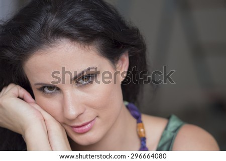 beautiful brown and sensual young girl  - stock photo