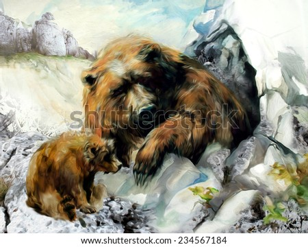 Beautiful brown bear against white snowy cliffs and ice. Watercolor on paper in computer processing. - stock photo