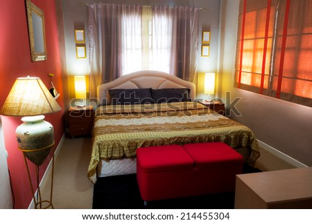 Beautiful Brown Bedroom, Asian Contemporary Style and Cozy Living interior - stock photo
