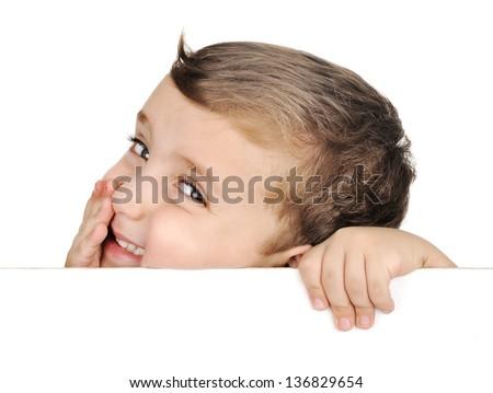 beautiful brown hair blue eyes boy smile on white - stock photo
