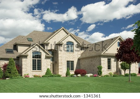 Older red brick house green lawn stock photo 4088485 for Beautiful two story homes