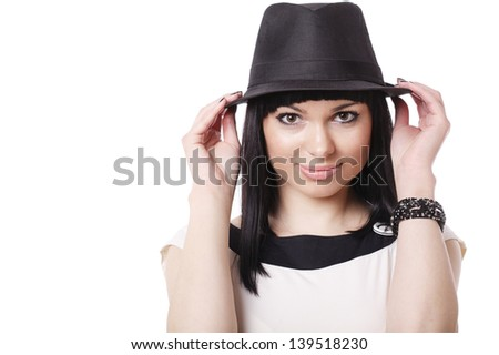 beautiful brunette bortrait with black hat isolated