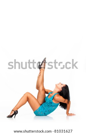 beautiful brunette dancing and posing. isolated on white - stock photo